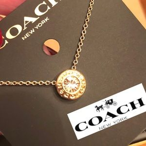 💝COACH Necklace Yellow Gold w Crystal Gorgeous